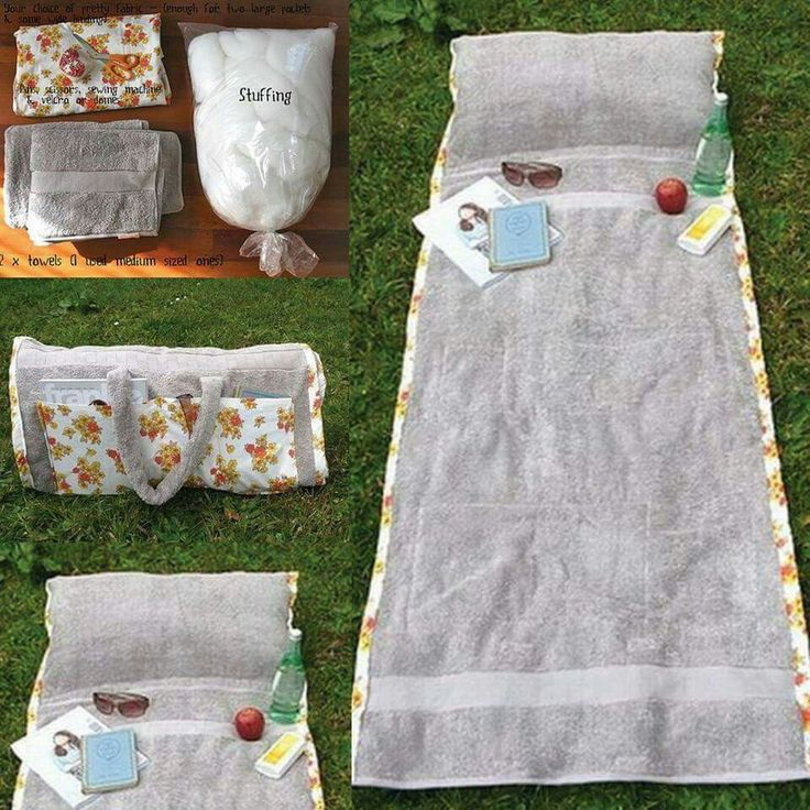 DIY BEACH TOWEL PILLOW BAG....this is such a great idea & is so easy to make!    http://www.smartschoolhouse.com/diy-crafts/neat-summer-ideas-and-hacks/3