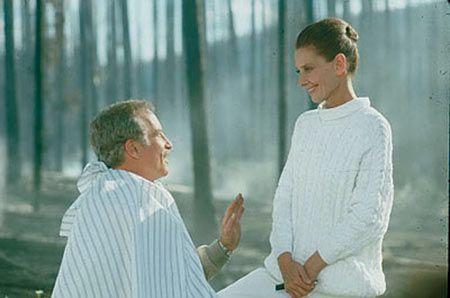 "Audrey Hepburn (Hap) and Richard Dreyfuss (Pete Sandich) in the film ""Always"" (1989). Directed by Steven Spielberg."