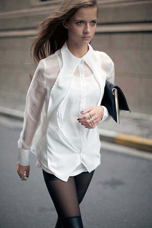 Fashion Week!!Sheer shirt, leather hot pants and a hint of boots
