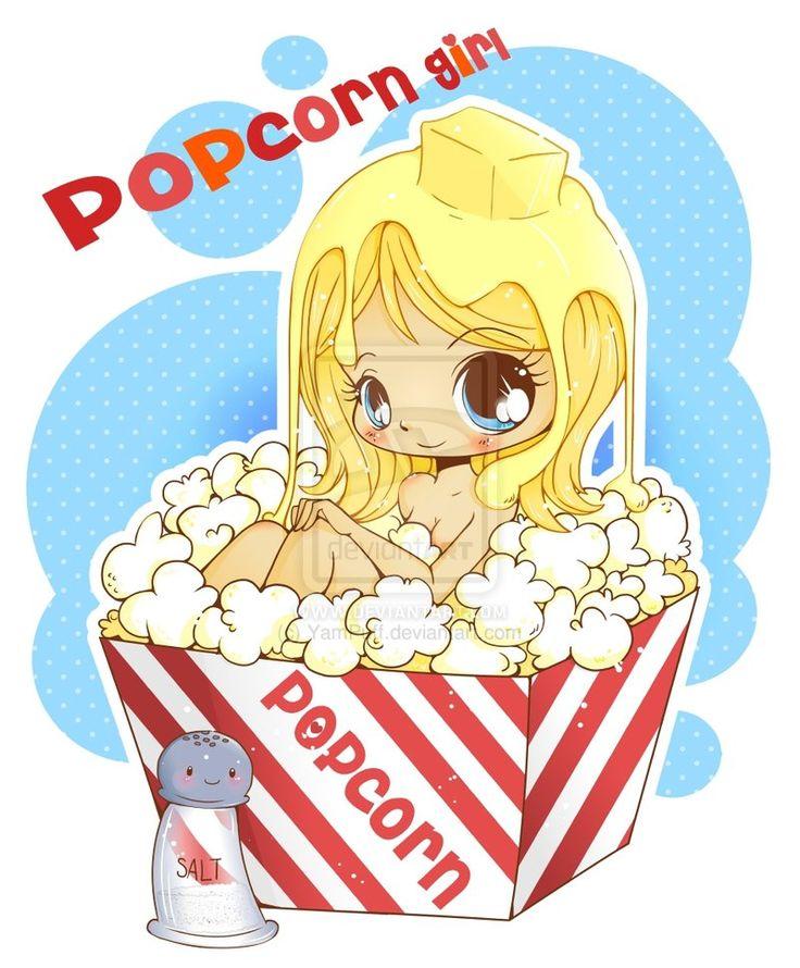 Chibi Popcorn Girl by YamPuff.deviantart.com on @deviantART
