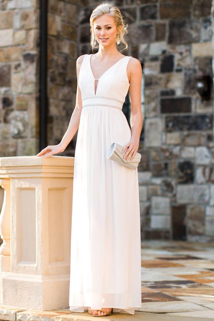Hollywood Starlet Cream Maxi Dress at reddressboutique.com