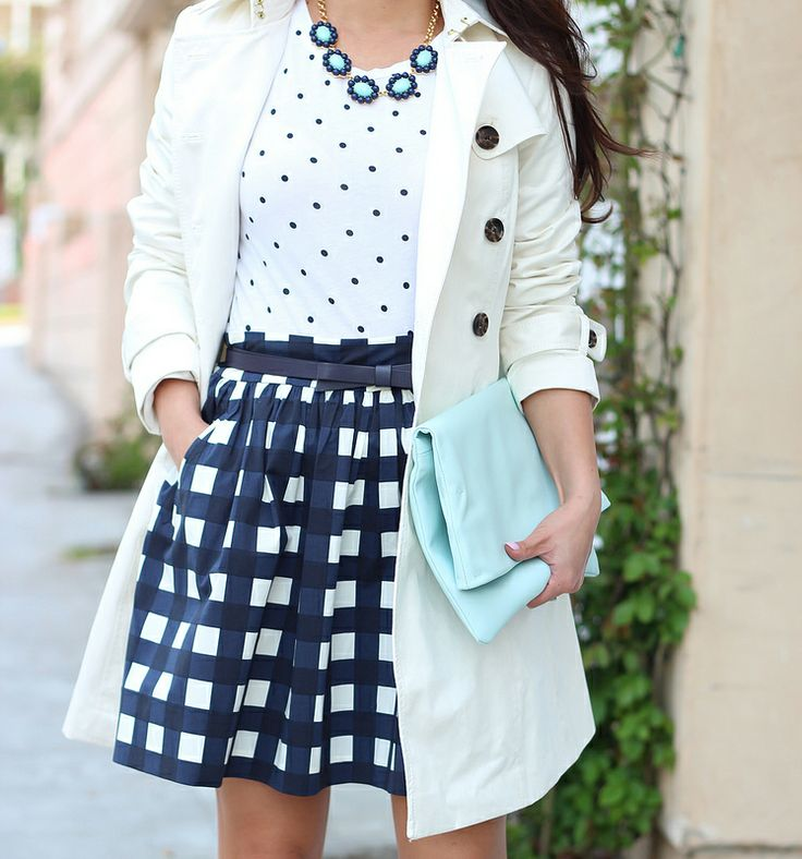 StylishPetite.com   Banana Republic Gingham Full Skirt, Classic Trench and bloom necklace