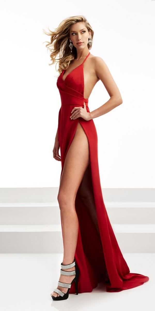 Sexy Long Dress with Thigh High Slit. Colors: Red, Black. Size: 00-12