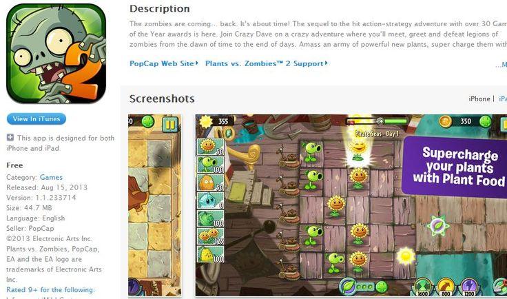 Plants vs Zombies 2 iOS: Pflanzen gegen Zombies 2 ab sofort im AppStore  Als kostenlose App ist jetzt Plants vs Zombies 2 für iOS für alle  ...