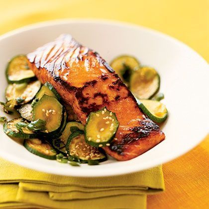 Teriyaki Salmon with Zucchini - I tried it with Korean teriyaki sauce, which is lower sodium and has the sesame seeds already in it. Yum!