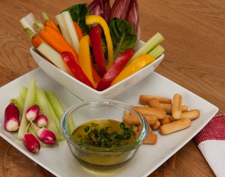 Pinzimonio - Olive oil dip flavoured with fresh herbs & served with crudites and a great source of #fibre, #phytonutrients, #vitamins and #minerals.