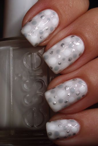 white, silver, gray dots nail art