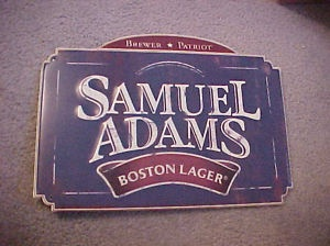 "metal sign, samuel adams, boston lager, 7-1/2"" x 14"""