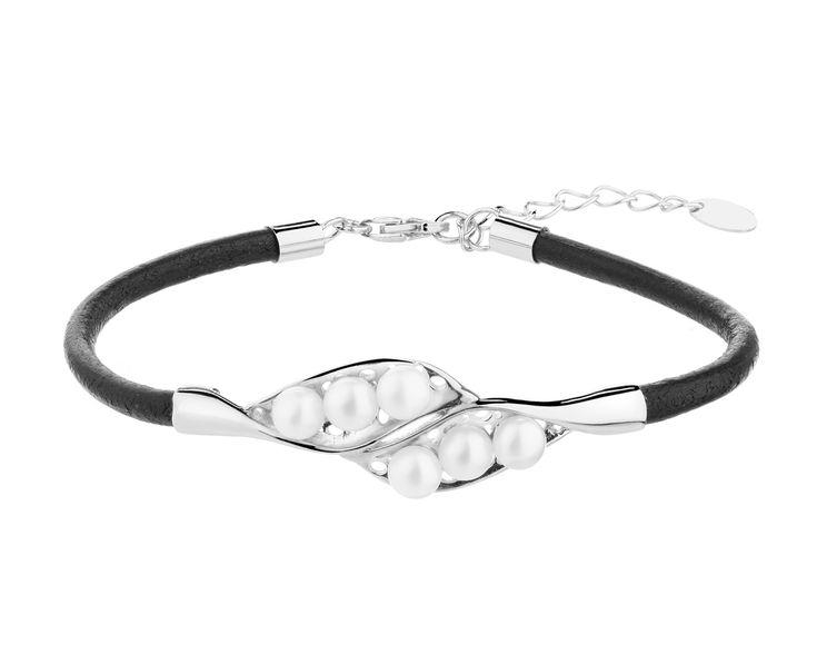 Bransoleta srebrna z perłami | Apart