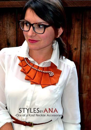 OrangeSpice- Autumn Fabric Necktie Necklace Unique Clothing Accessory, Hand Made Upcycled High Fashion Fall Accessory: