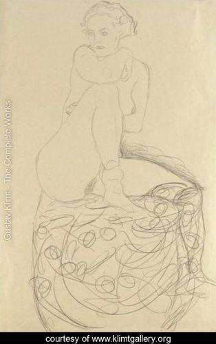 Mit Aufgestelltem Rechten Bein Sitzender Akt (Seated Nude With Raised Right Leg) - Gustav Klimt - www.klimtgallery.org