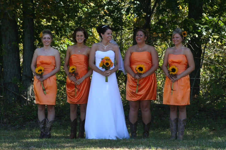 Bridesmaids Dresses For A Fall Wedding Orange bridesmaids dresses