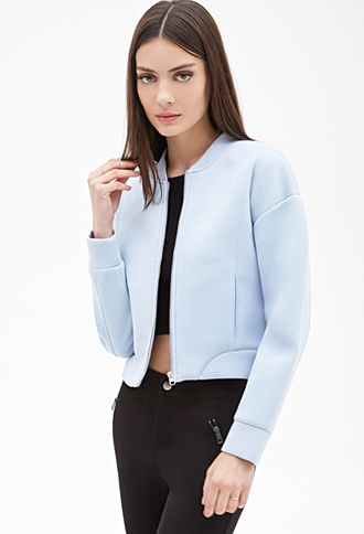 Scuba Knit Bomber Jacket | FOREVER21 - comfy and classy jacket. It was definitely worth the purchase.