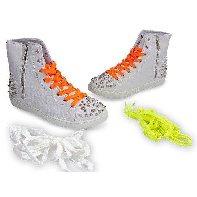 Wysokie Trampki Z Cwiekami 6563 Bialy Biale Sneakers High Sneakers White Heels