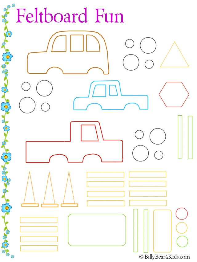 """Great quiet time activity - felt board cars, you can make board a street or just plain and add roads to layout as well - maybe make larger shapes for cars to be built onto so when they start """"driving"""" the cars will stay together"""