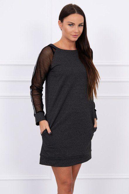 11c477ea17ee Grafitové šaty so sieťkovými rukávmi