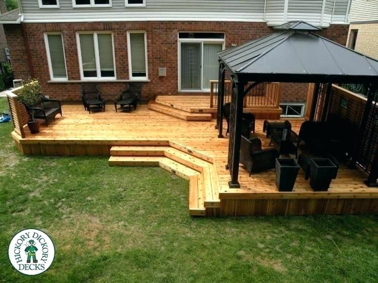 Two Level Deck Designs 2 Level Deck Designs 2 Level Deck With Privacy Home Curb Appeal Ideas Split Level Deck Pic In 2020 Decks Backyard Deck Designs Backyard Backyard
