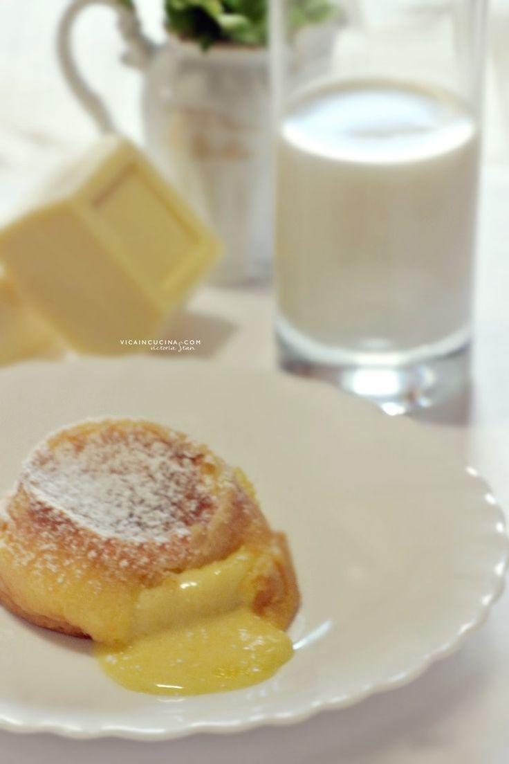 Tortino al cioccolato bianco con cuore fondente @vicaincucina