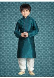 36599a6a96 Teal Green designer indian ethnic Kids party wear Kurta Pajama in Art silk  M16078