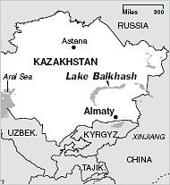 Lake Balkhash of Kazakhstan is one of the largest lakes in the