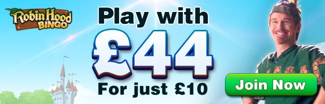 Robin Hood Bingo Special Promotion! Limited new player only offer  Add £10 play with £44 use promo code VIP £25 will be credited to your new account immediately plus you will receive £9 in Bingo cards playing for a cool £10,000 in the big Payday Bingo Game, You have got to be initto-winit http://www.initto-winit.com/bingo/robin-hood-bingo/