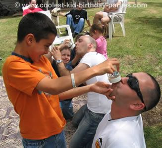 bottle chugging contest prepare baby bottles with 40 ml of soda