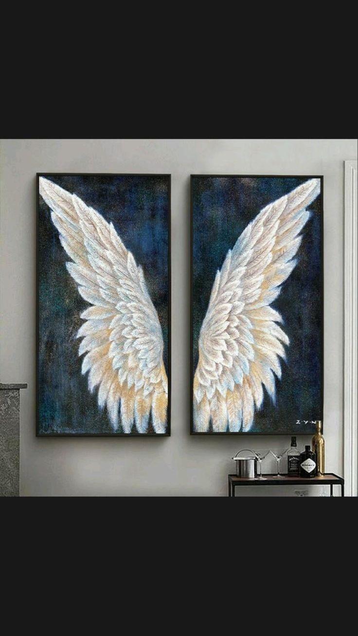 Angel Wings Painting, Angel Wings Art, Angel Artwork, Angel Wings Drawing, Diy Canvas, Canvas Wall Art, Living Room Canvas Art, Art Wall Kids, Oil Painting On Canvas