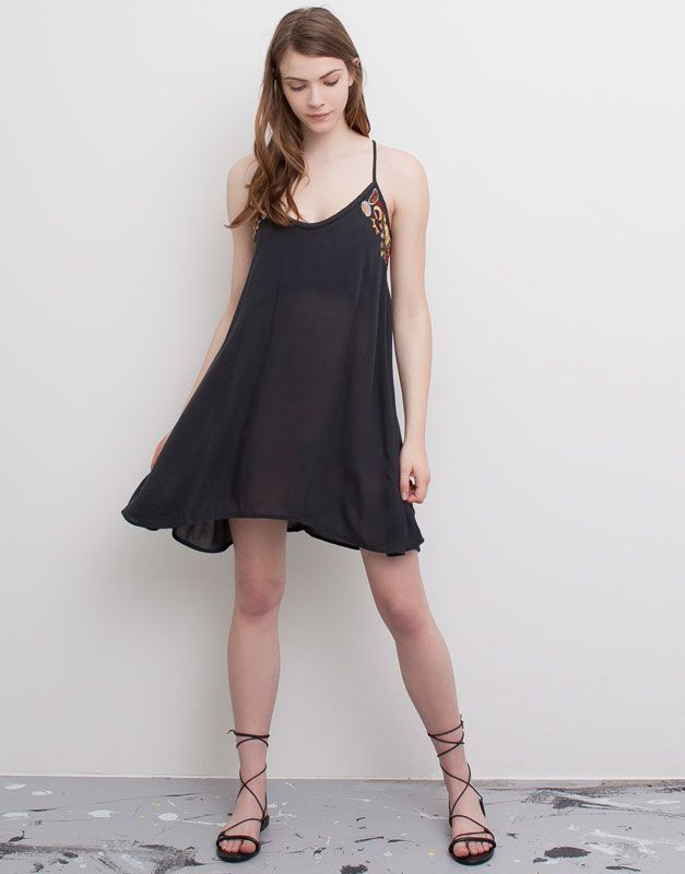 :GREY DRESS WITH CHARMS