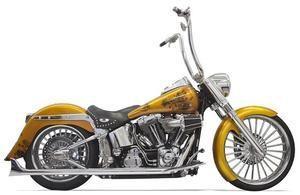 Image of Bassani True Dual Head Pipes W 30 Inch Long Fishtail Mufflers Chrome- Harley Davidson Softail Models 07- 14 - 1S26E-30