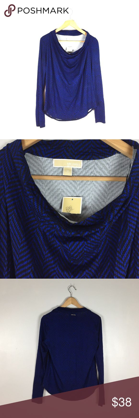 Michael Kors Blue and Black Chevron Top, M NWT Michael Kira Shirt with a draped neck and chevron pattern.  Size M. Michael Kors Tops