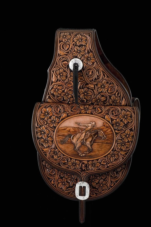 Tooled saddle bag -- Maker; Rick Bean