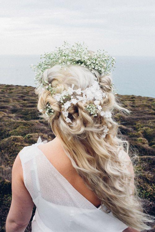 Holly Young Hats Boutique  » 'Ruan' blossom lace hair vine #weddinghair #hairvine #lace #bohobride #boho #wedding #hair #halfup #halfdown #beachwedding #cornwall #headpiece #headpieces #vine #blossom