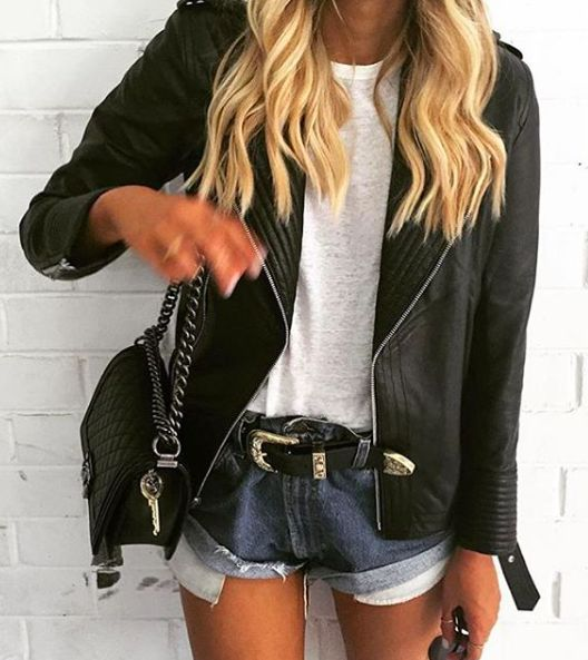 white tee + leather + denim
