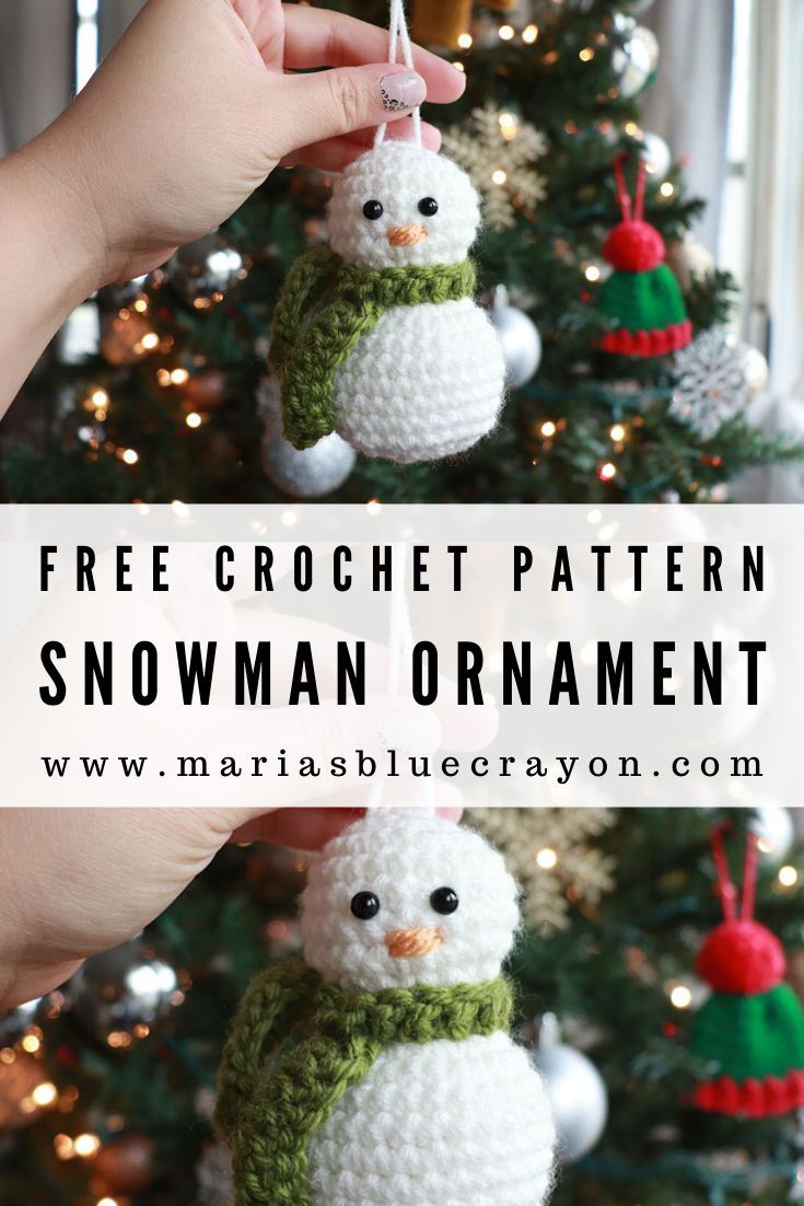 Crochet Snowman Ornament Free Pattern Maria S Blue Crayon Crochet Christmas Ornaments Free Crochet Ornament Patterns Crochet Christmas Decorations