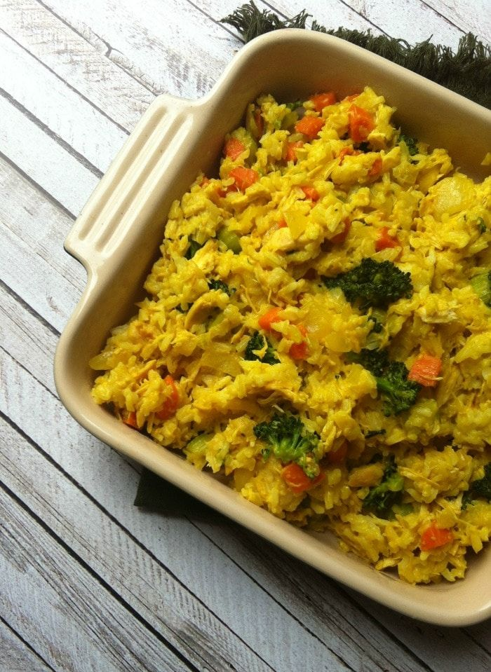 Curried Chicken and Rice Casserole; a healthy twist on the chicken and rice casserole comfort food