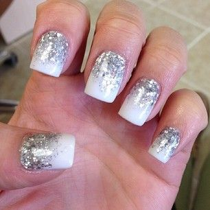 White and silver cascade Nail art. O Spa Kelowna Gel Nails and Manicures Kelowna