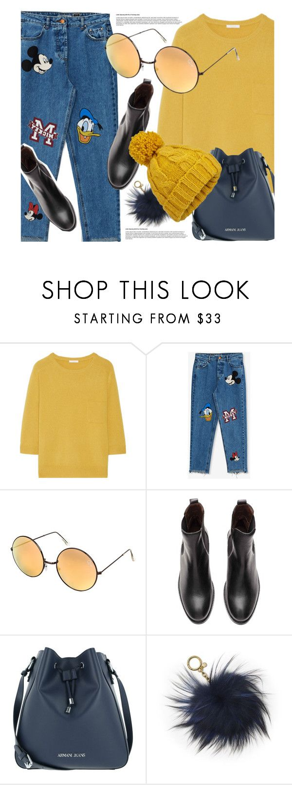 """""""Hey, Mickey"""" by smartbuyglasses-uk ❤ liked on Polyvore featuring Chloé, Pull&Bear, Quay, Armani Jeans, MICHAEL Michael Kors, Miss Selfridge and yellow"""