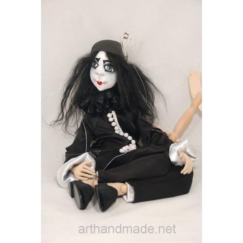 Textile doll-marionette Black Pierrot, BJD. Author Marysia Semitsvet - http://arthandmade.net/marisya.semicvet Doll, puppet, marionette, theatrical doll, puppet show, handmade doll, gift, original gift, craft, handmade, collection, Gallery Magical World, кукла, купить куклу, коллекционная кукла, интерьерная кукла, кукла ручной работы, подарок, оригинальный подарок, коллекция, ручная работа, Галерея Волшебный мир