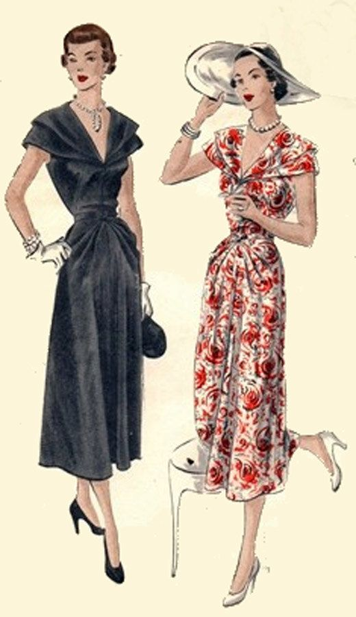 1940s Dinner Dress with Cape and Diagonal Pleats at Waistline and Neckline Vogue…