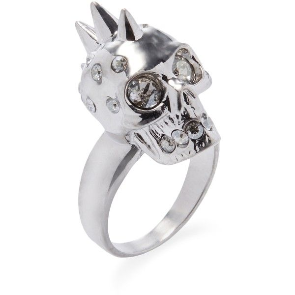 Alexander McQueen Women's Punk Skull Ring - Silver, Size 7 ($230) ❤ liked on Polyvore featuring jewelry, rings, silver, silver rings, swarovski crystal jewelry, skull jewelry, silver jewelry and wide rings