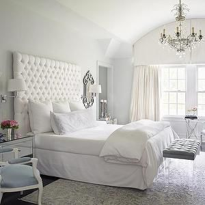 Katie by Design - bedrooms - french bedrooms, master bedrooms, barrel ceiling tufted tall headboard