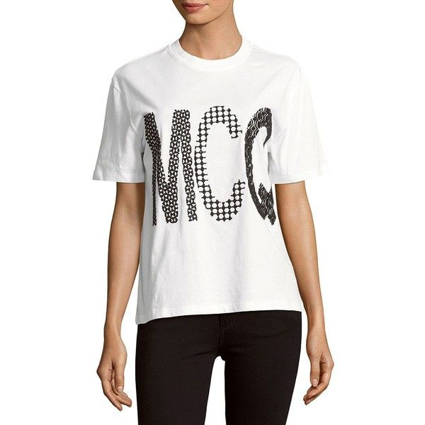 McQ Alexander McQueen Cotton Printed Tee ($90) ❤ liked on Polyvore featuring tops, t-shirts, short sleeve tee, crew neck tee, white top, short sleeve crew neck t shirt and sweater pullover