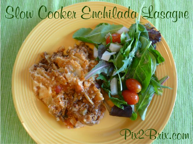 Slow Cooker Enchilada Lasagne - a quick, inexpensive, mostly clean eating worthy and super tasty meal your whole family will love