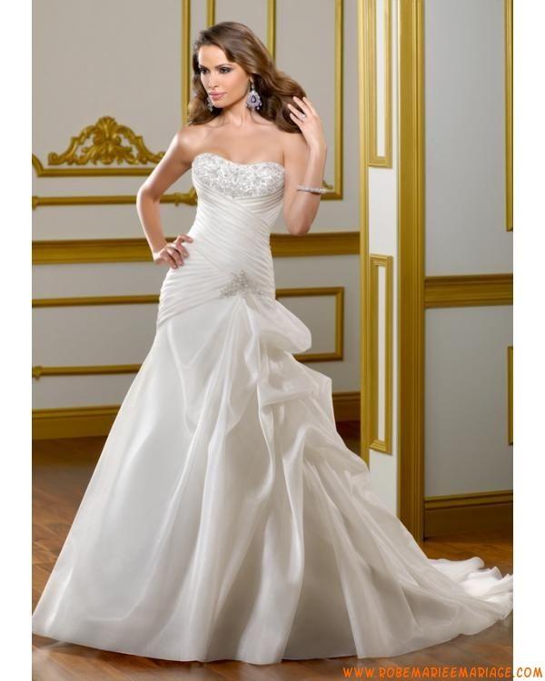 Robe bustier pas cher 2012 blanche broderie avec traîne robe de mariée organza
