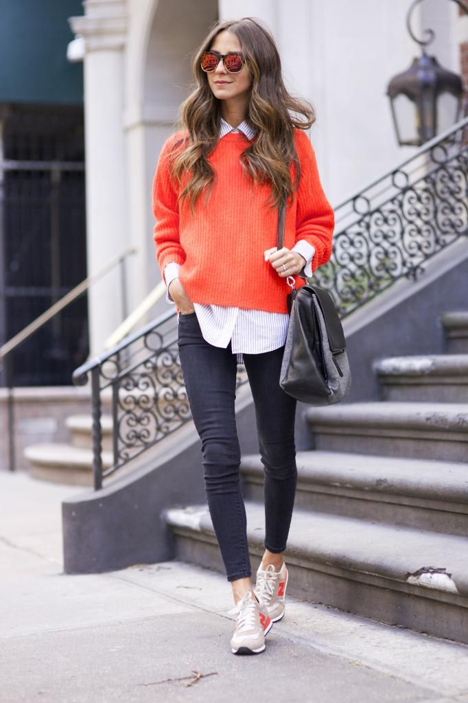 I like wearing orange/coral and love the tennis shoes with skinny jeans