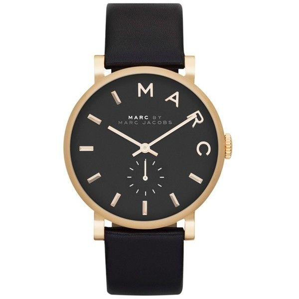 MARC by Marc Jacobs 'Baker' Leather Strap Watch, 37mm Black/ Gold found on Polyvore