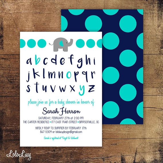 Baby Boy ABC Baby Shower Invitation with Elephant and by LoloLucy