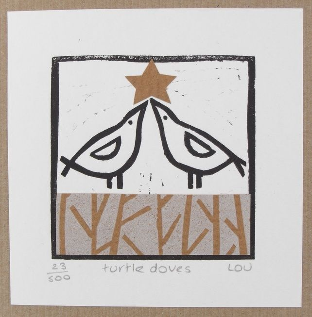 Christmas card - 'turtle doves' linocut £4.00