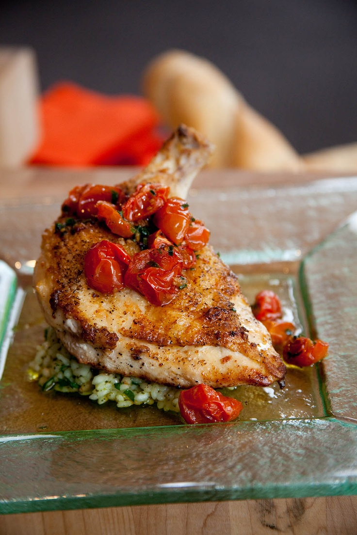 Roasted tomato airline chicken on herbed risotto | Fine Foods ...
