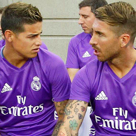 James with Sergio Ramos August 2016